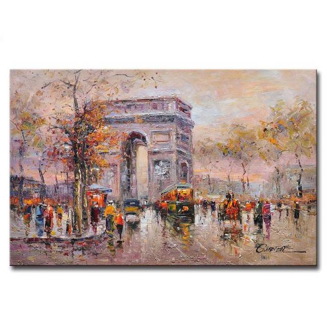 Canvas-Linen-Painting-Artwork-Thick-Painted-Cityscape