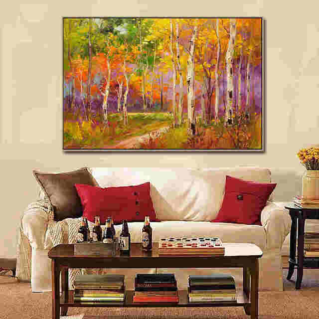 Heavy-painted-autumn-scenery-oil-painting-by_3_1_1